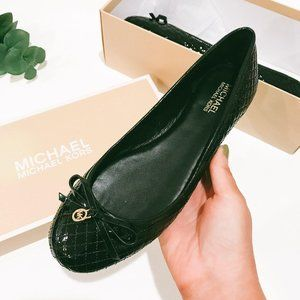 NWB Michael Michael Kors Melody Quilted Ballet Bla